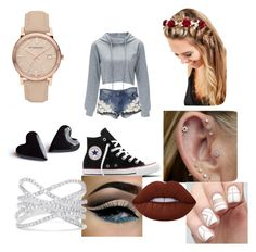 """""""Walk"""" by jensunicorn on Polyvore featuring Converse, Johnny Loves Rosie, Burberry, Effy Jewelry and Lime Crime"""