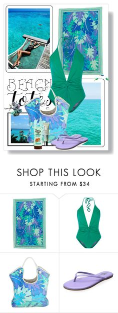 """""""Beach Totes"""" by dezaval ❤ liked on Polyvore featuring Emilio Pucci, ADRIANA DEGREAS, Yosi Samra, Clinique, beach, Swimsuits, Packandgo, onepieceswimsuit and beachtotes"""
