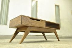 Items similar to Mid Century Inspired Solid Walnut Coffee Table on Etsy Timber Furniture, Retro Furniture, Ikea Furniture, Mid Century Modern Furniture, Custom Furniture, Furniture Design, Furniture Removal, Walnut Coffee Table, Coffee Table Design
