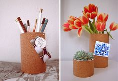 Easy cork containers. Recycle  soup/vegetable cans or use any container you have lying around. Roll out some cork and glue.