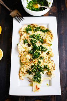 Roasted Cauliflower Steaks with Lemon Herb Gremolada, a healthy delicious side dish you will love! | www.feastingathome.com