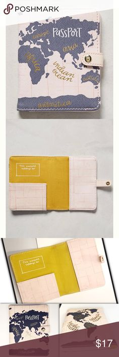 """Sold eBay Voyageant Passport holder by 1canoe2 Our love for letterpress is limitless, which is why we're smitten with the designs of 1canoe2. From their barn-turned-studio in Missouri, they hand-produce a wide array of illustrated greeting cards, wall calendars and even kitchen linens using watercolor and gouache paints.   Polyuerethane, plastic, paper Imported Style No. 40248874 Dimensions Passport holder: 5""""H, 4""""W Anthropologie Accessories"""