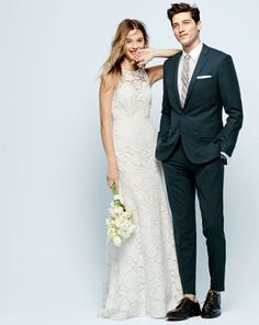 J.Crew Heloise gown & the perfect wedding suit. Classy not stuffy.