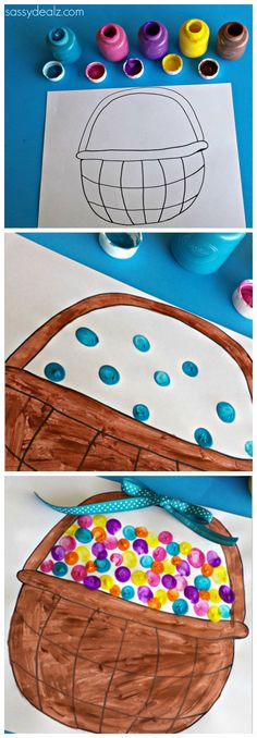 Fingerprint Craft for kids! Easter eggs and free easter basket coloring page to print! #Easter craft for kids | CraftyMorning.com