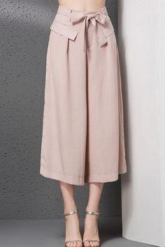 Bowknot Decorated Loose-Fitting Capri Pants