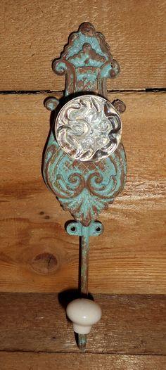 Beautiful Antique Rustic Style Door Handle Wall Hook,Shabby Romantic Chic Coat Hook,Old Glass Door Knob Wall Hanging Hook