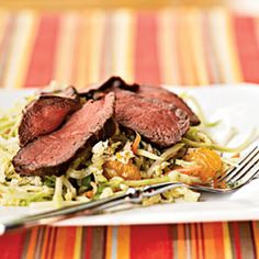 Thai Beef Salad from MyRecipes.com. This Thai beef salad recipe combines light and fresh flavors to make a vibrant summer salad.