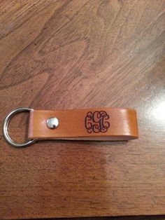 Monogram Leather keychain or pull strap by 2orangefrogs on Etsy, $9.00