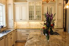 "These beautiful ""sandy"" kitchen countertops feature a perfectly chiseled ogee edge."