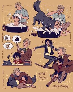If Sirius and Remus raised Harry. Harry Potter Anime, Harry Potter Comics, Harry Potter Fan Art, Memes Do Harry Potter, Hery Potter, Mundo Harry Potter, Harry Potter Drawings, Harry Potter Ships, Harry Potter Universal