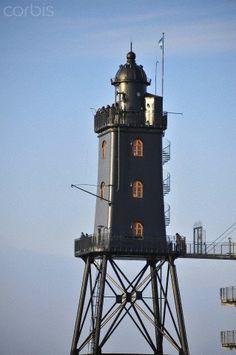 Leuchtturm Obereversand Lighthouse, fishing port of Dorum-Neufeld, Lower Saxony, Germany, Europe