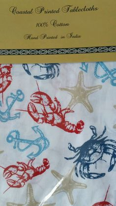 Coastal Nautical Tablecloth Fabric 60 x 84 Lobsters Crabs SeaLife  NEW #NantucketDistributing