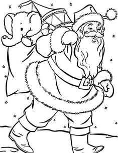 Santa on Snow Christmas Coloring Page