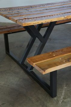 Superb Custom Reclaimed Wood Rustic Modern Industrial Indoor / Outdoor Picnic  Dining Table
