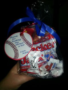 My baby shower favors..  Baseball theme shower.  Cracker jacks... Big leauge baseball gum and peanuts