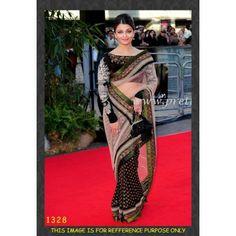 Bollywood Designer Aishwarya Viscose Net Fabric,  Viscose Saree HEL1204