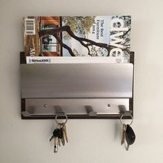NEW Industrial Modern, espresso wood, stainless steel, magazine rack, mail holder, iPad iPhone, coat rack, key rack, wall home organization