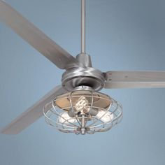 Fan to go in the bedroom to create some cool air :) Casa Vieja™ Turbina Brushed Steel Ceiling Fan Industrial Cage Light, Industrial Style Lighting, Cool Lighting, Caged Ceiling Fan, Bronze Ceiling Fan, Ceiling Fans, Kitchen Fan, Kitchen Ideas, Fans For Sale