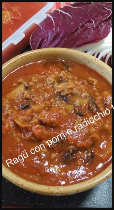 Un ragù facile e gustoso? prova questo con porri e radicchio ! #ragu #ricetta #ricettegustose #porri #radicchio