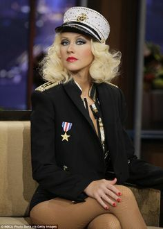 Christina Aguilera back in her Candyman sexy sailor uniform for Leno Christina Aguilera Burlesque, Emma Watson Legs, Lady Gaga Pictures, Beautiful Christina, Latest Albums, Diane Lane, Costume, American Singers, Britney Spears