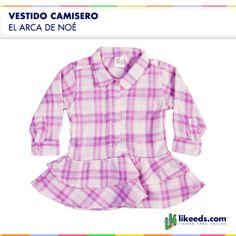 Vestido camisero con volados, estampado cuadrille para nenas.  Para conocer talles, colores y comprar ¡Hacé click en la imagen!