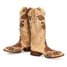 BootDaddy Collection with Corral  Square Toe Tan Cowgirl Boots