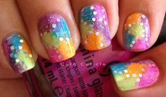 Pretty purple , blue , green , pink and orange glitter nails perfect for the summer!!!!