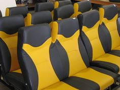 Now these are statement seats! Upholstered in contrasting yellow and black, you'll feel like you are in a racing seat riding in one of these. Racing Seats, Car Seats, The Great White, Bus Coach, Motorhome, Minivan, Vehicle, Yellow, Stylish