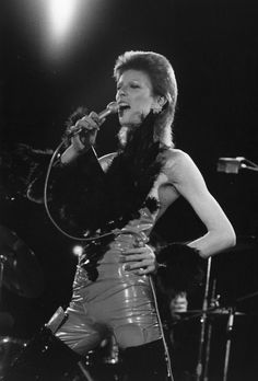 "Bowie during a performance at The Marquee Club in London in October, 1973, wearing his ""Angel of Death"" costume."
