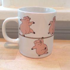 Ceramic Illustrated Cartoon Pigs Walking on a Rope Coffee Mug Barnyard Farm - Mugs, Cups