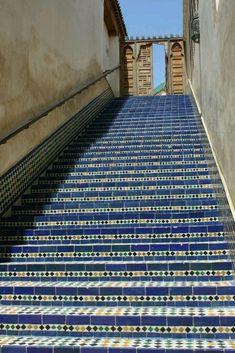 Library Steps in Fez, Morocco Handmade tiles can be color coordinated and customized re. shape, texture, pattern, etc. by ceramic design studios located all throughout Fez. Marrakech, Islamic Architecture, Stairway To Heaven, Moorish, Stairways, Places To See, Holland, Beautiful Places, Beautiful Stairs
