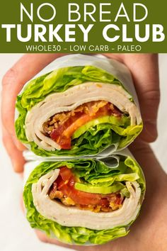 Use this No Bread Turkey Club method to make your favorite sandwich into a low carb sandwich. Make a no bread sandwich by rolling all of your favorite fillings into a romaine lettuce wrap. Kitchen Recipes, Paleo Recipes, Great Recipes, Dinner Recipes, Paleo Meals, Low Carb Lunch, Lunch Meal Prep, Low Carb Sandwiches, Sliced Turkey