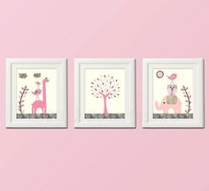 Pink and grey Nursery Art Print Set Kids Room by SugarInspire, $39.95