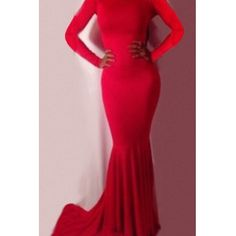 USD12.74Sexy Vintage Bateau Neck Long Sleeve Mermaid Floor length Red Polyester Dress