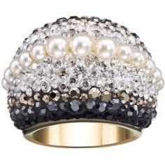 Swarovski Chic Royalty Swarovski Crystal & Crystal Pearl Dome Ring -... ($99) ❤ liked on Polyvore featuring jewelry, rings, cream pearl clear crystal jet, crystal pave ring, pave band ring, pearl jewellery, swarovski rings and crystal jewelry