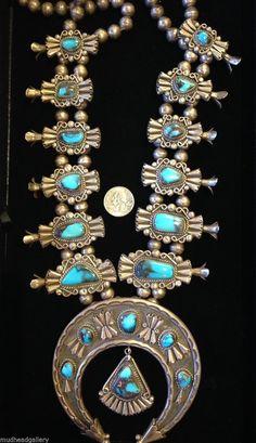 Squash Blossom Necklace Bisbee Turquoise Jimmy Herald | eBay
