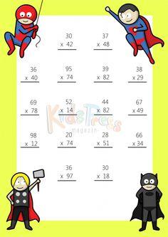 Math Worksheets – 2 Digit by 1 Digit Multiplication Printable Multiplication Worksheets, Math Practice Worksheets, Math Multiplication, Math Tutor, Math For Kids, Fun Math, Math Math, Math Games, Math Sheets