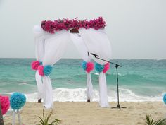 Bottom Bay, Barbados, Blue and Pink wedding arch decor