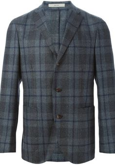 Grey and blue cotton blend and wool plaid blazer from Boglioli.