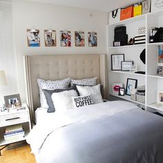 Grey ombre bedding + a shelf wall perfect for a small apartment (or fake room!) | dormify.com