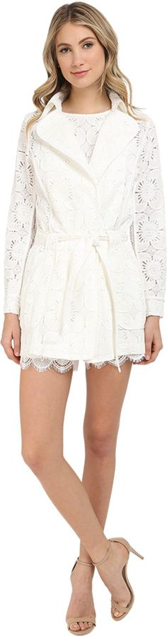 Trina Turk Women's Monet Cap Ferrat Floral Lace Trench Coat, Whitewash, 2. Trench coat. Long sleeves. Self belt. Pockets.
