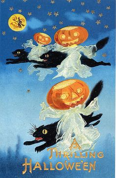 Vintage Old Halloween Postcard with Black Cats and Ghosts and Pumpkinheads