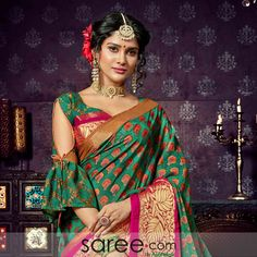 A gorgeous green chiffon saree with a panel of bright pink- makes this garment a stylish one for daytime parties. Flower designs woven into the drape and colorful buttis scale up its liveliness. Saree Blouse Designs, Blouse Patterns, Hand Designs, Flower Designs, Lehenga Choli Online, Chiffon Saree, Exclusive Collection, Bright Pink, Blouses