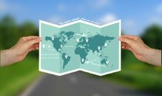 Prezi template with a world map concept.  Male hands holding a world map on a blurred 3D background.  Use the arrow, airplane and the marker symbols to build your own travel journey.  All the map elements are vector objects, which means they are 100% zoomable.