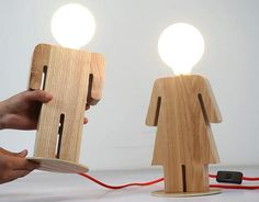 Handcrafted Wooden original Boy and Girl desk lamp Decorative lamp Night lamp…