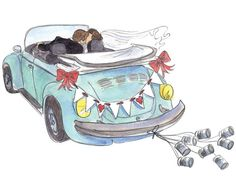 Love Bug Wedding Card Sending Best Wishes by MichelleBaronStudio