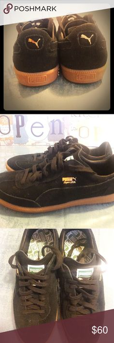 Black suade pumas Black suade pumas used one time ...clean Puma Shoes Sneakers