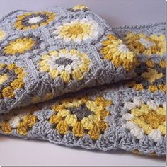 Granny squares; yellow and gray