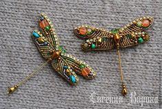 Купить Брошечки стрекозки - разноцветный, стрекоза, брошь стрекоза, стрекозы под заказ