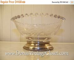 50% OFF SALE Vintage Depression Glass Etched Candlewick Footed Bowl Candy Dish Sterling Base